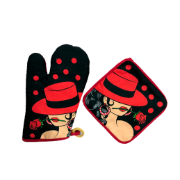 """Spanish Dancer"" hot pad and oven mitt"" set"