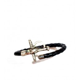 Leather and silver matador sword bracelet