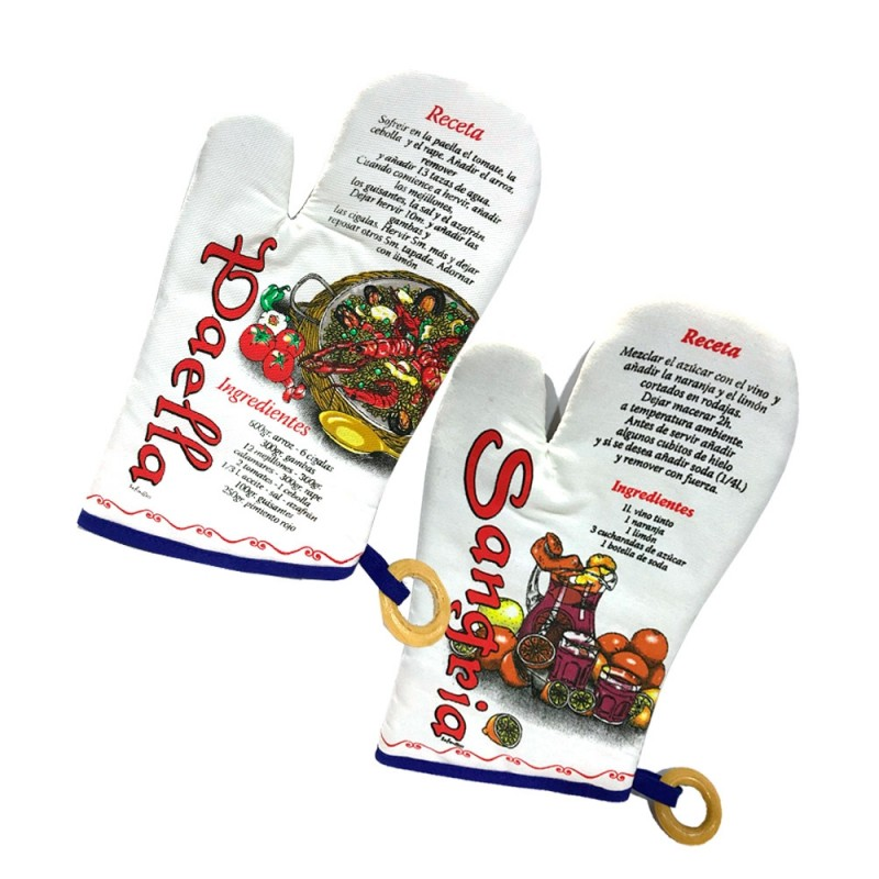Oven mitt with Spanish gastronomy