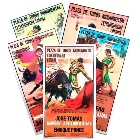 Cartel de toros con un nombre personalizable