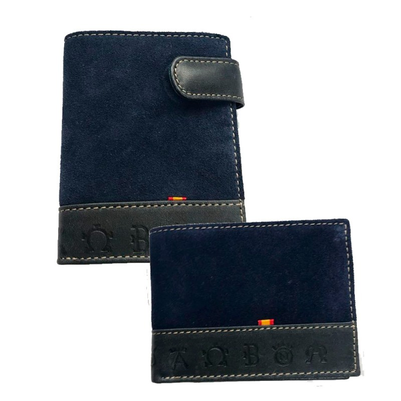 "Spanish flag and irons"" Suede wallet"