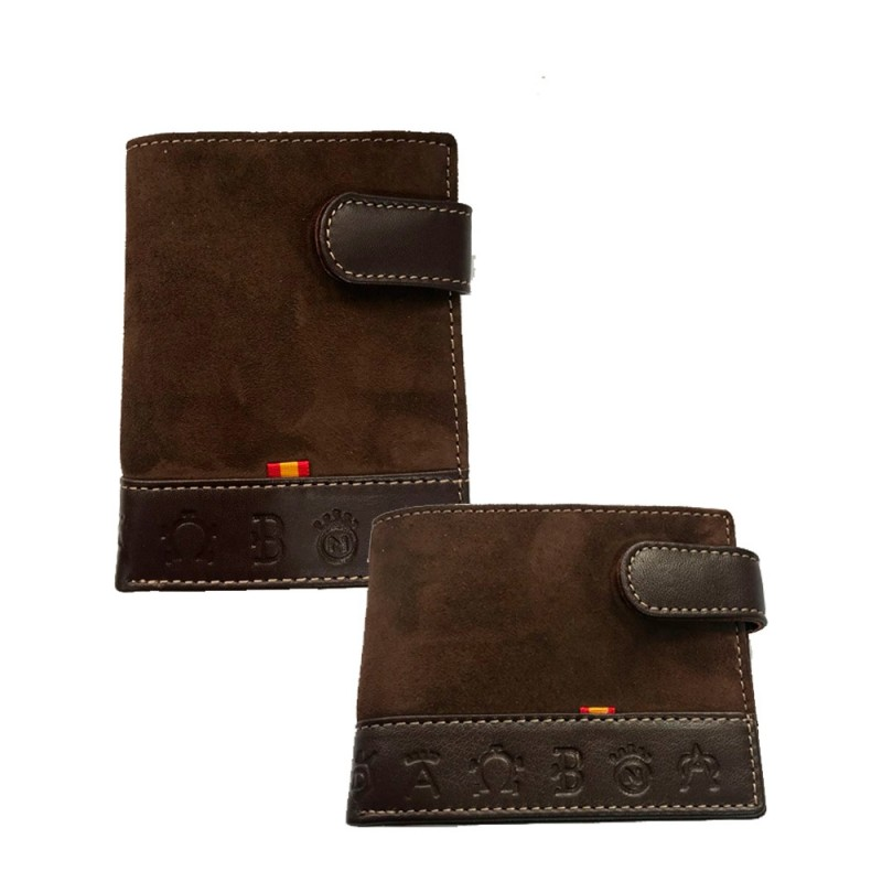 """Spanish flag and irons"""" Suede wallet"""