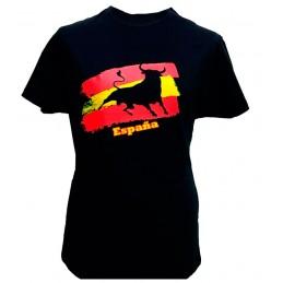 """Camiseta """"Toro y bandera de España"""" adulto"""