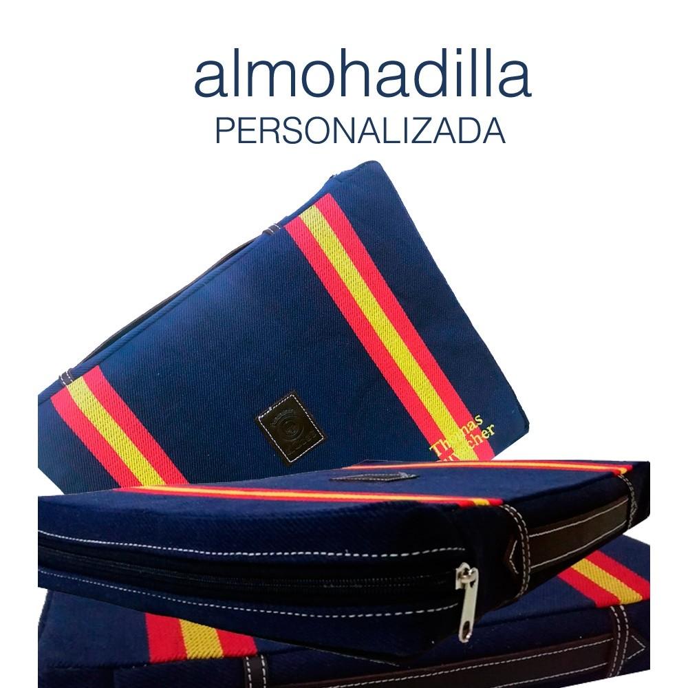 """Almohadilla taurina """"Azul dos banderas"""" personalizada"""