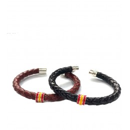 "Braided leather bracelet ""Spanish flag"""