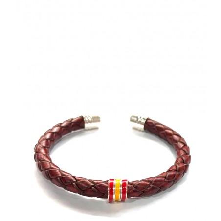 "Braided leather bracelet ""Spanish flag"""