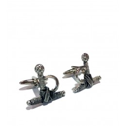Bullfighting rhodium cufflinks