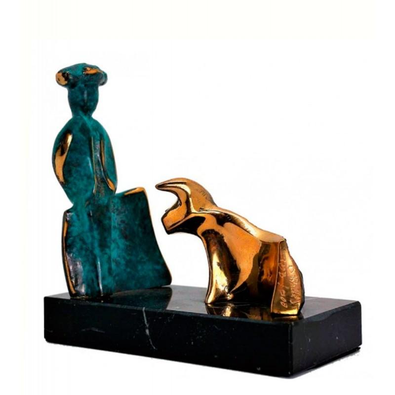 """Bronze matador and bull figure """"Cita"""""""