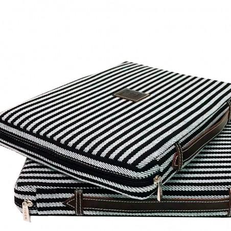 almohadilla para ir a los toros colores blanco y negro de rayas