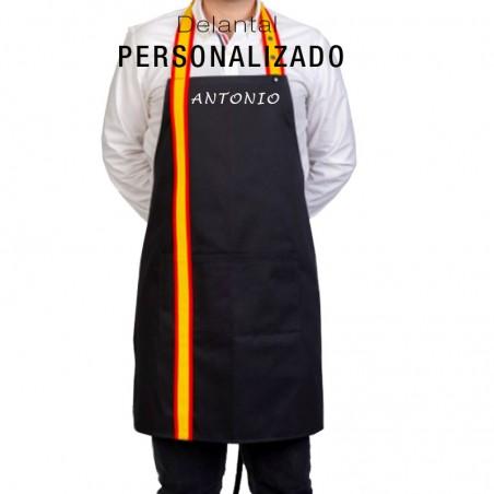 Delantal de cocina Bandera de España Personalizado color negro