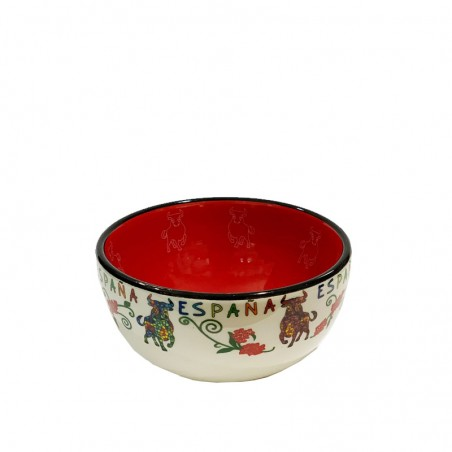 """Small ceramic bowl, decorated with Spanish """"bull"""","""