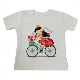 "T-shirt ""Flamenca à vélo""..."