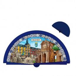 Abanico Recuerdo de Madrid color azul