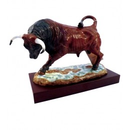 Bull charging porcelain with base