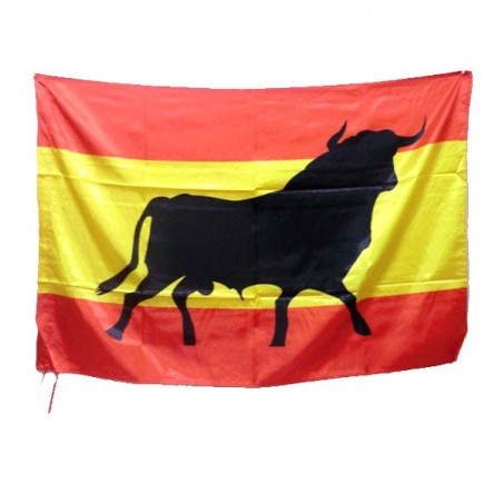 Spanish flag with a bull