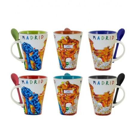 Madrid monuments coffee mug with spoon