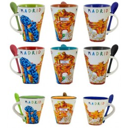 Madrid monuments coffee mug with spoon