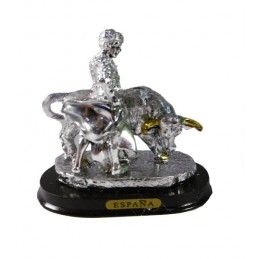 Bull and matador figure in silver of a Veronica